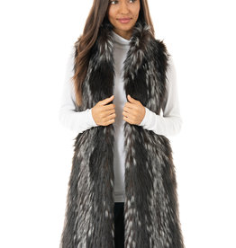 Stroller Faux Fur Vest Midnight Fox Lrg