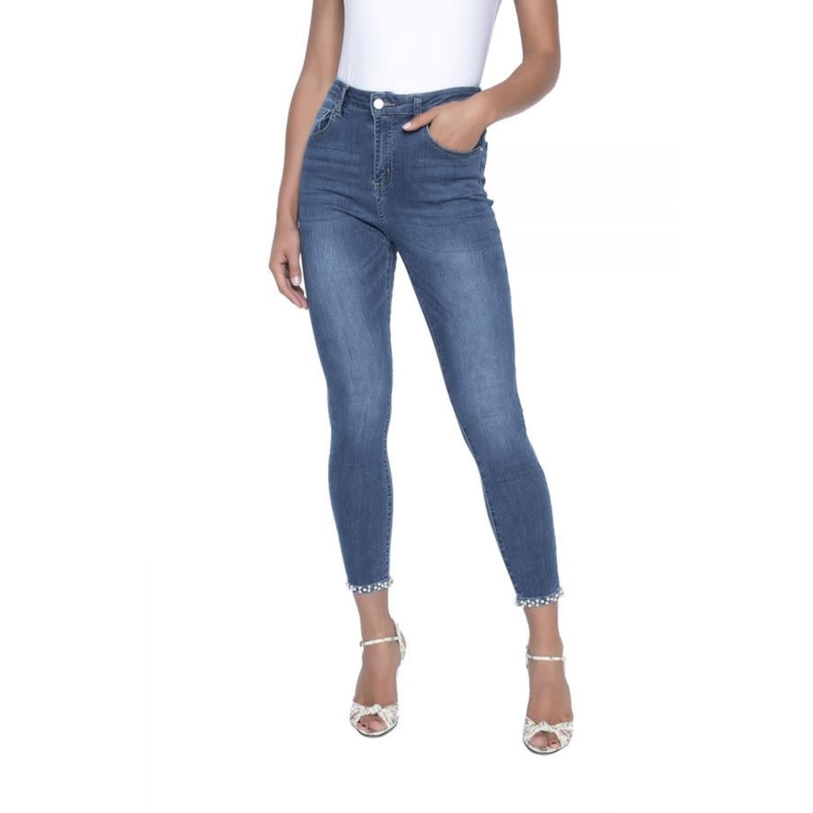 Dk Blue Jeans w/Pearl and Rhinestone Bow Embelllishmt