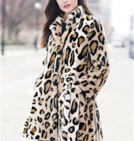 Graphic Leopard Faux Fur Coat