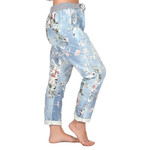 """Catherine Lillywhites Floral Jersey Lounge Around One Size """"Jeans"""" in Light Blue"""