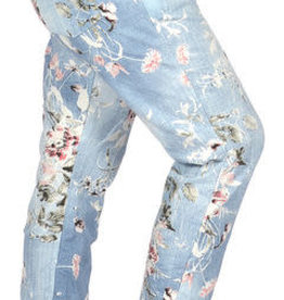 "Catherine Lillywhites Floral Jersey Lounge Around One Size ""Jeans"" in Light Blue"