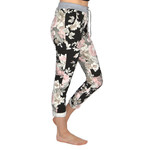 """Catherine Lillywhites Floral Jersey Lounge Around One Size """"Jeans"""" in Pink Floral on Black"""