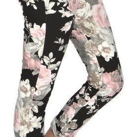 "Catherine Lillywhites Floral Jersey Lounge Around One Size ""Jeans"" in Pink Floral on Black"