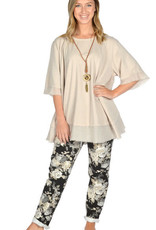 """Catherine Lillywhites Floral Jersey Lounge Around One Size """"Jeans"""" in Cream Floral on Black"""