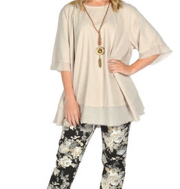 "Catherine Lillywhites Floral Jersey Lounge Around One Size ""Jeans"" in Cream Floral on Black"