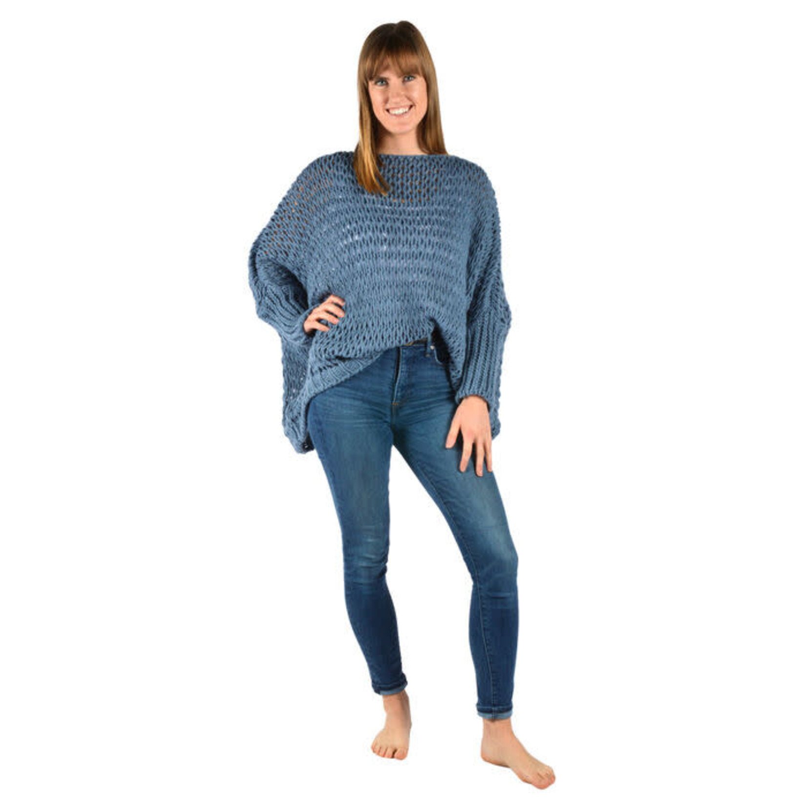 Catherine Lillywhites Open Weave Oversize Sweater Blue Jean