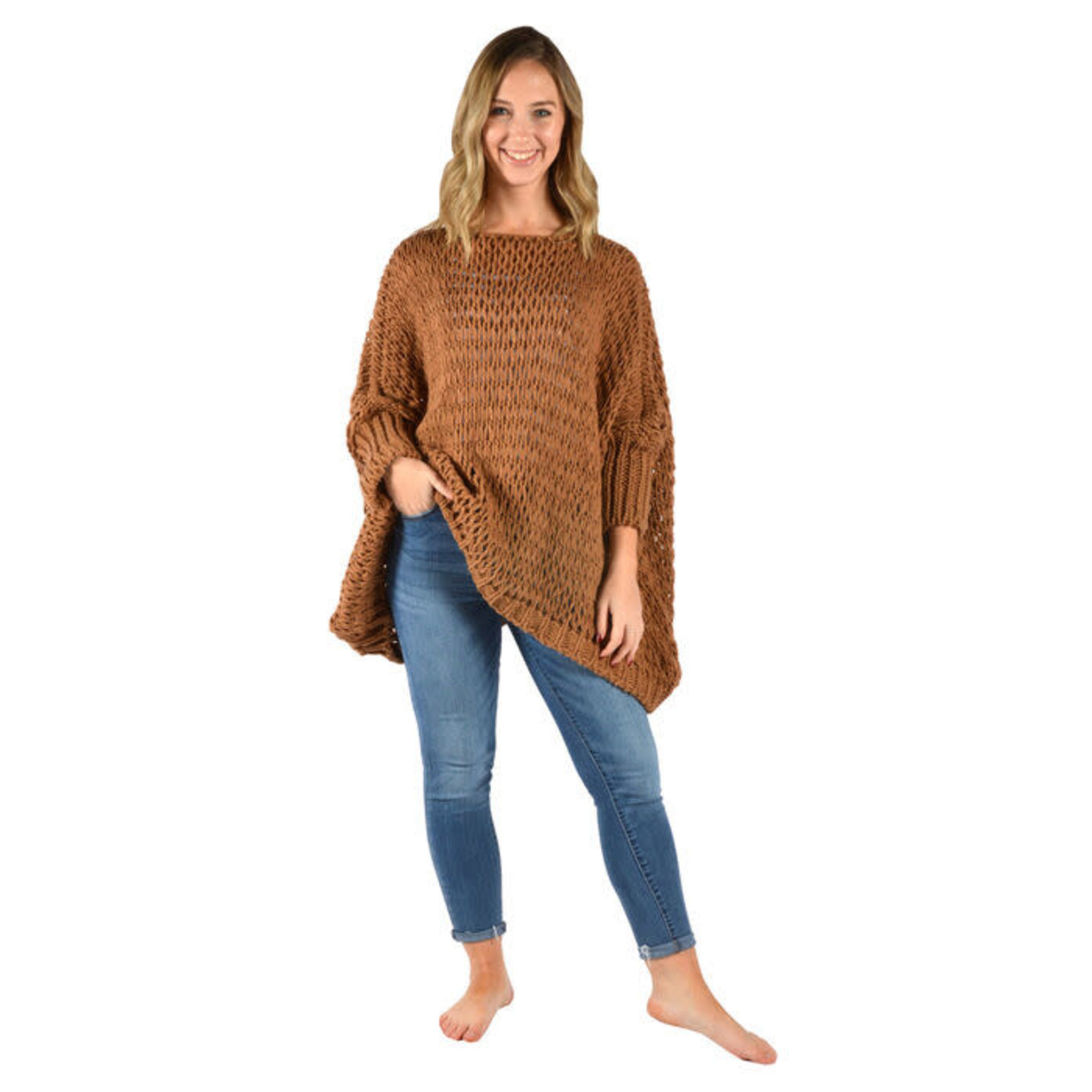 Catherine Lillywhites Open Weave Oversize Sweater Camel