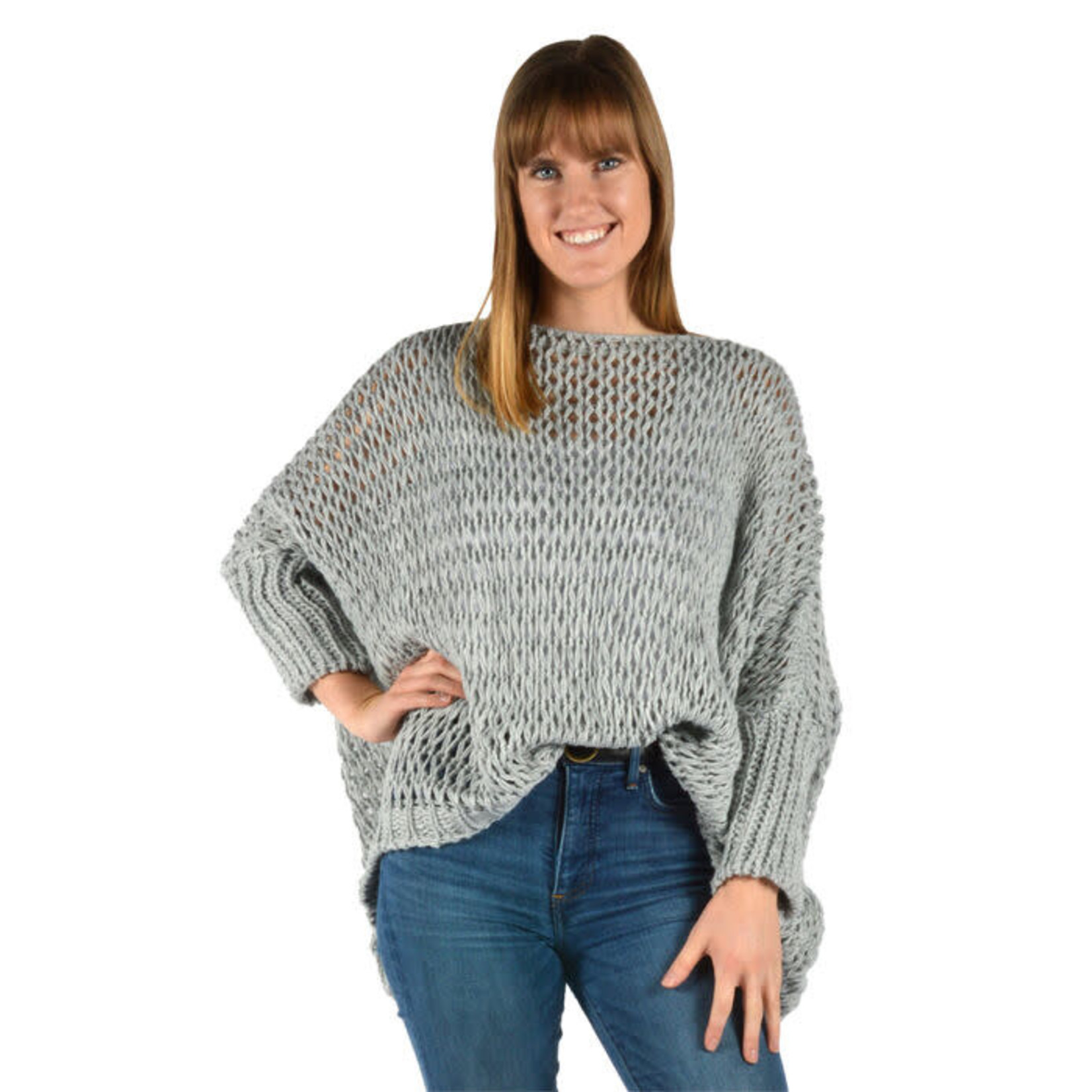 Catherine Lillywhites Open Weave Oversize Sweater Lt Grey