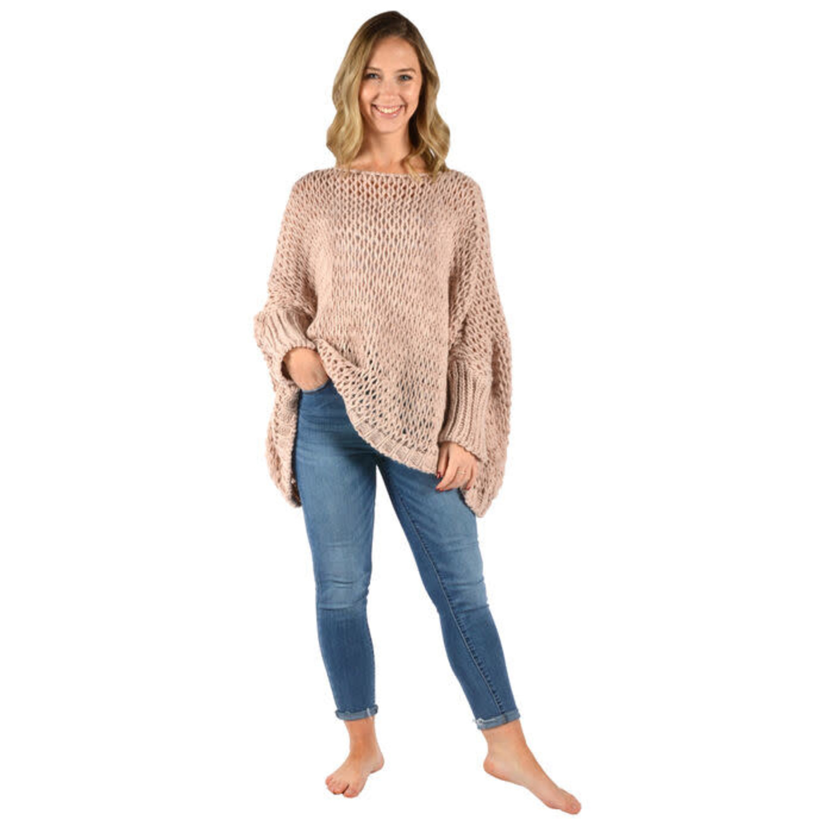 Catherine Lillywhites Open Weave Oversize Sweater Pink