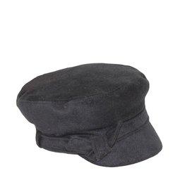 Hat Stack Black Brim Cap w/ Knotted Band, Elastic Back
