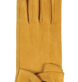 Hat Stack Faux Suede Texting Gloves w/ Twist Trim - Mustard