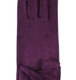 Hat Stack Faux Suede Texting Gloves w/ Twist Trim - Purple