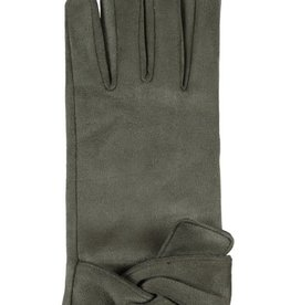 Hat Stack Faux Suede Texting Gloves w/ Twist Trim - Olive