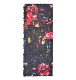 Raquel-Black and Multi Wool Blend Scarf w/Digital Floral Print