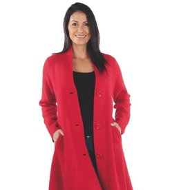 Kiana Red Wool V-Neck Hi-Lo Jacket