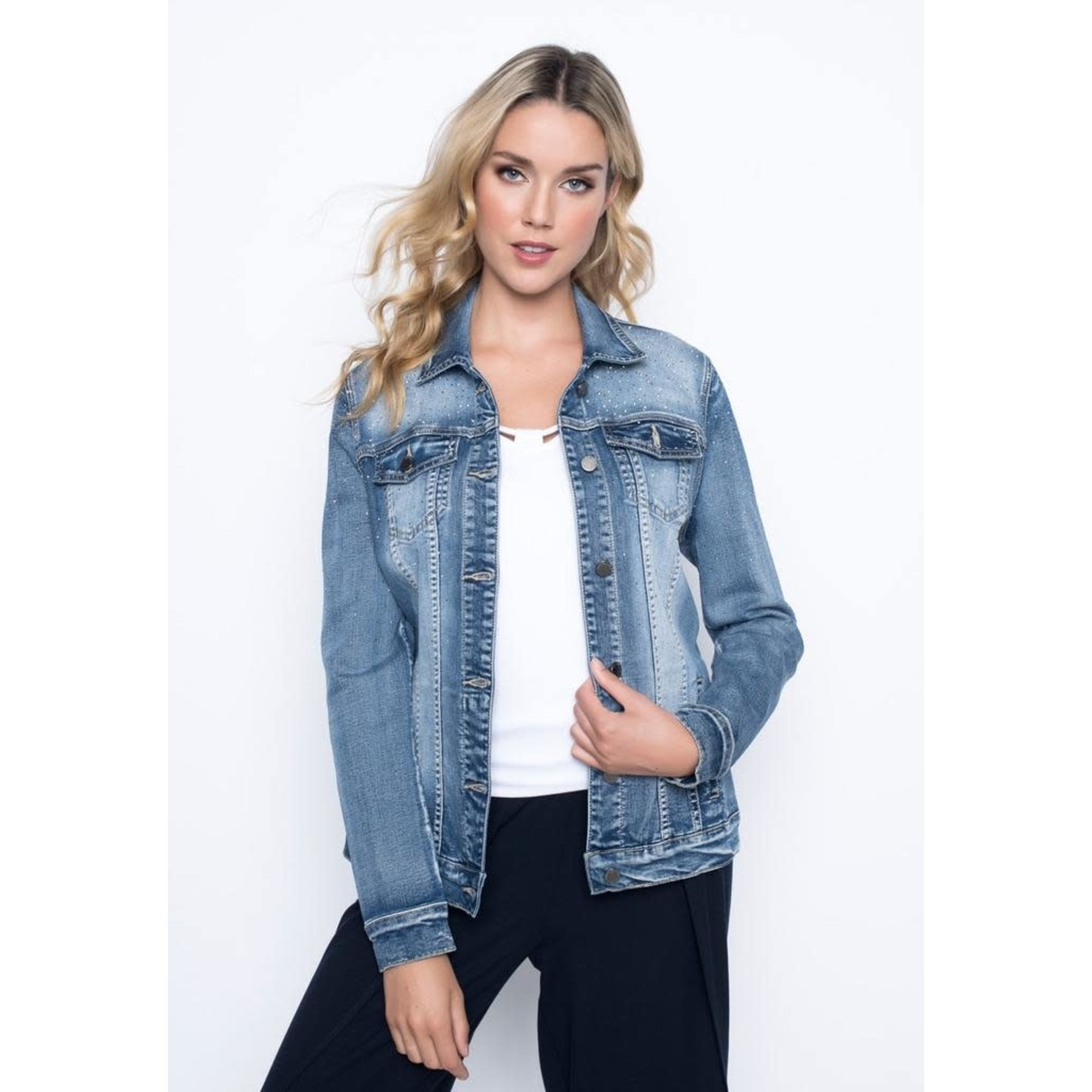 Picadilly Rhinestone Embellished Denim Jacket