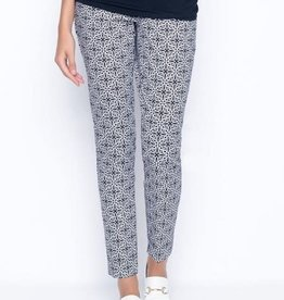 Picadilly Navy/White Tile Printed Ankle Length Pants w/ Slits