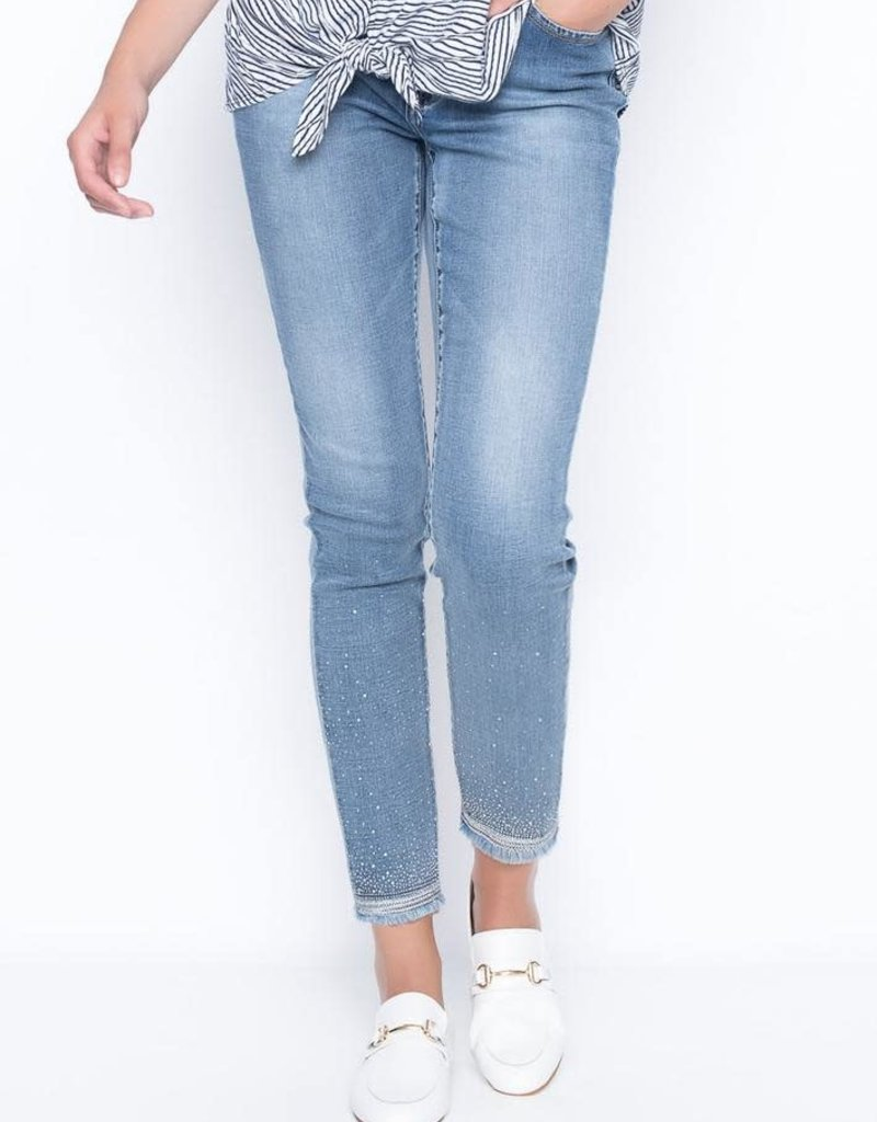 Picadilly Rhinestone and Embroidered Denim Jeans