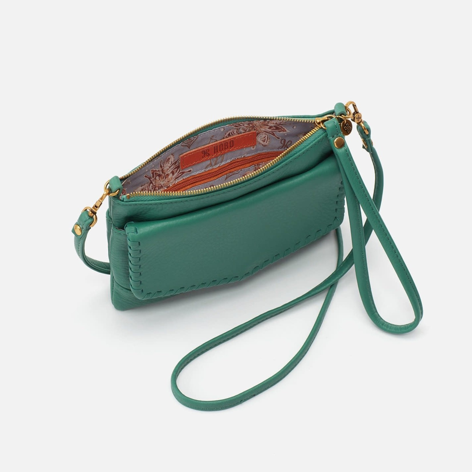 HOBO Stroll Garden Green Soft Hide Leather Crossbody/Wristlet