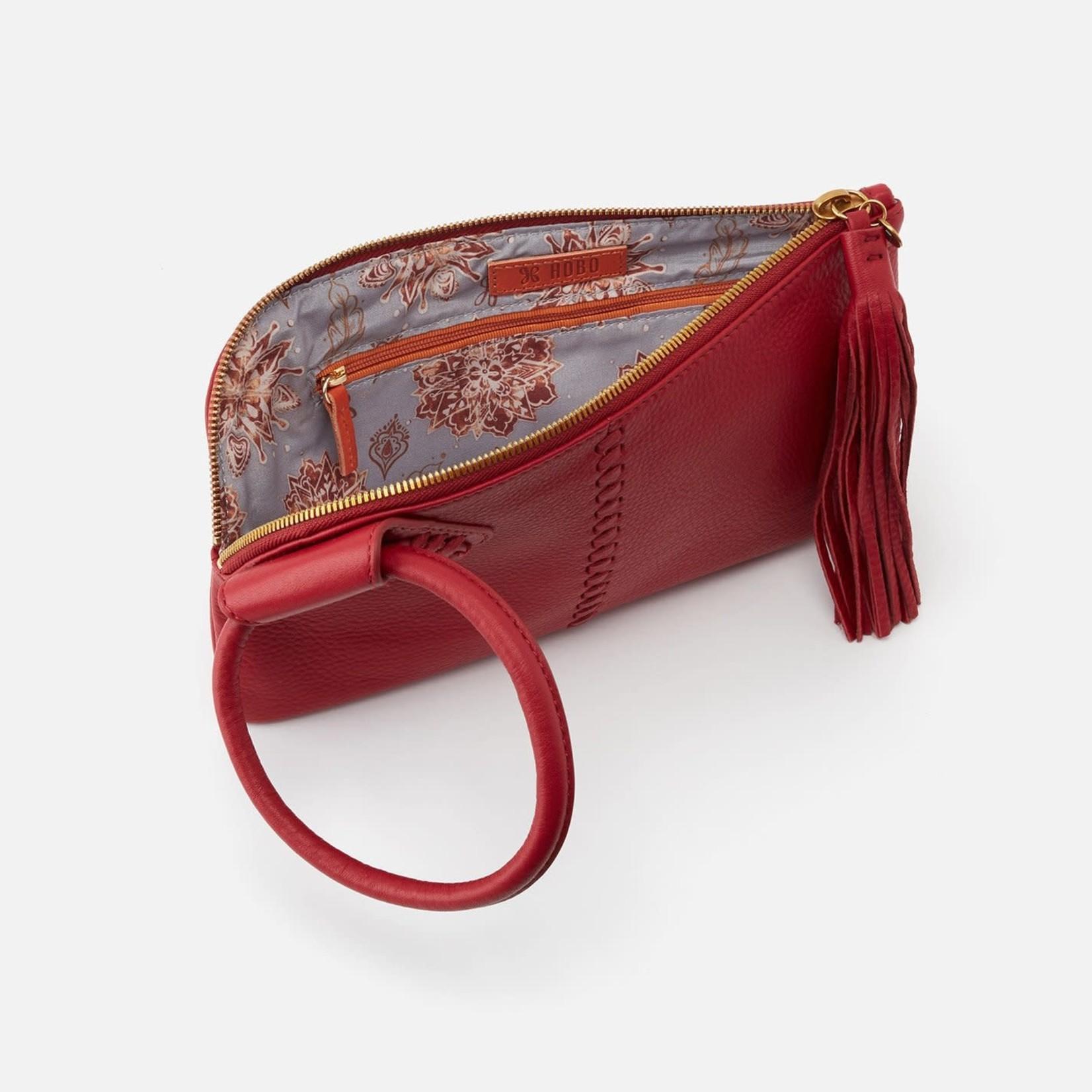 HOBO Sable Scarlet Pebbled Leather Wristlet w/Loop