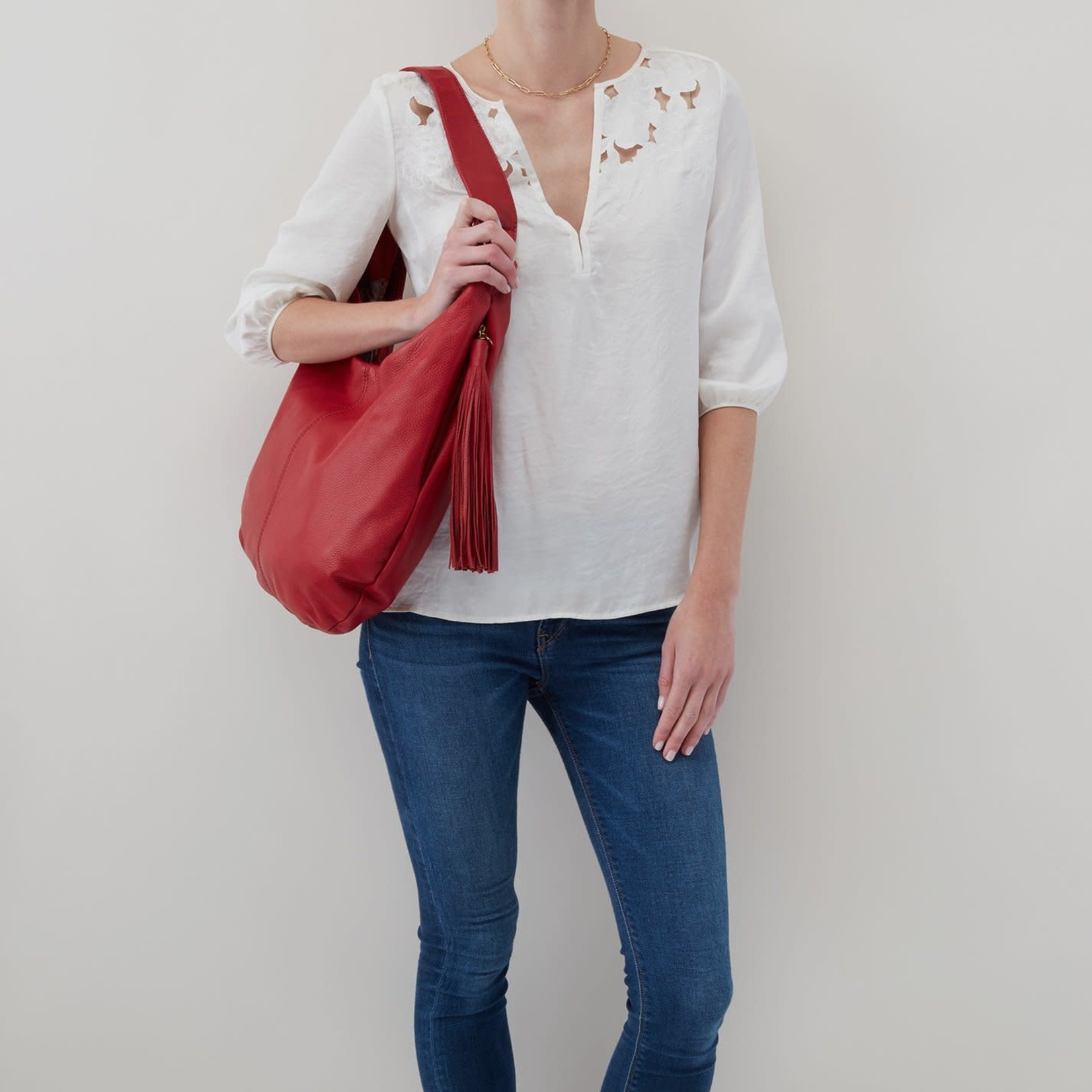 HOBO Gardner Scarlet Soft Hide Leather Hobo Bag