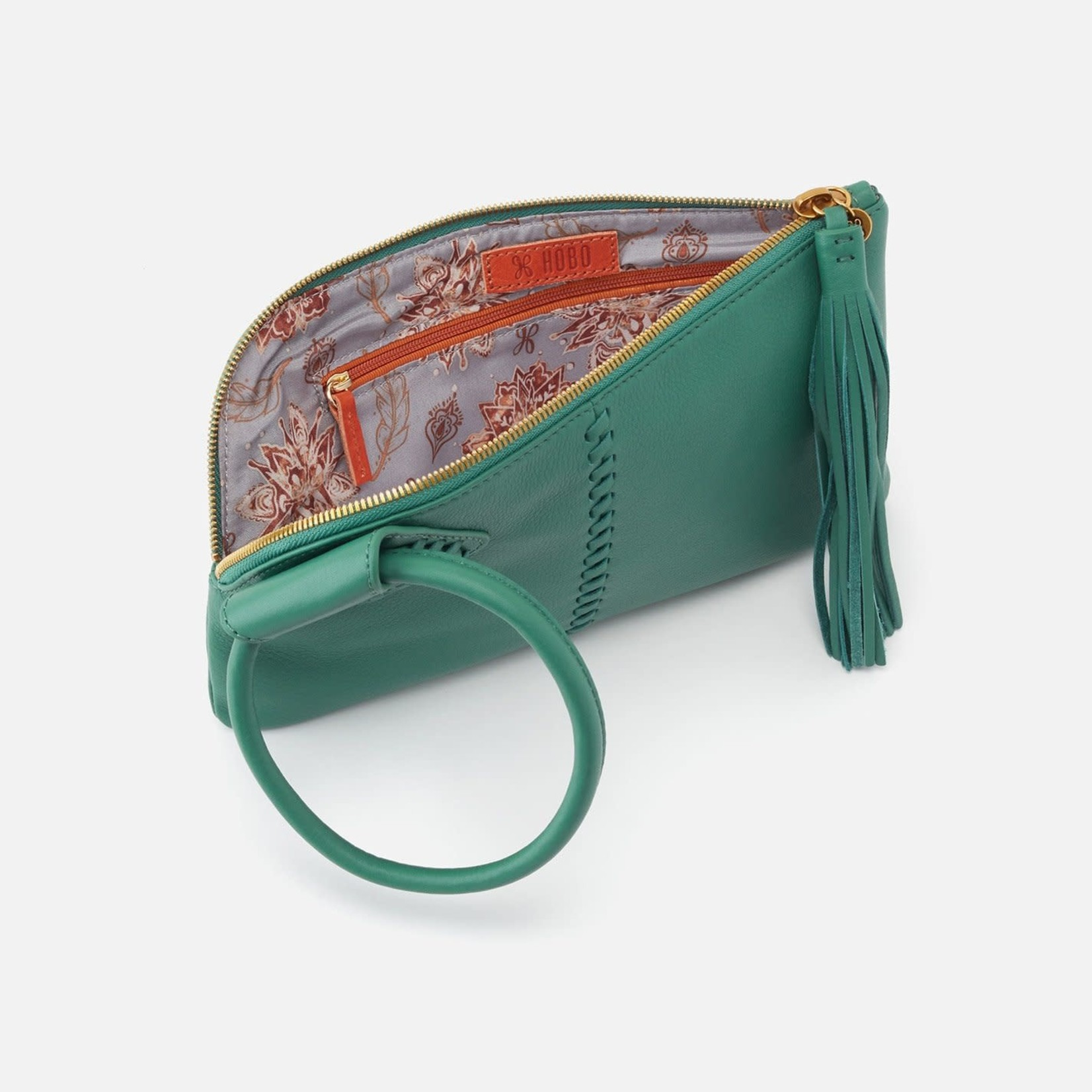 HOBO Sable Garden Green Leather Wristlet w/Loop