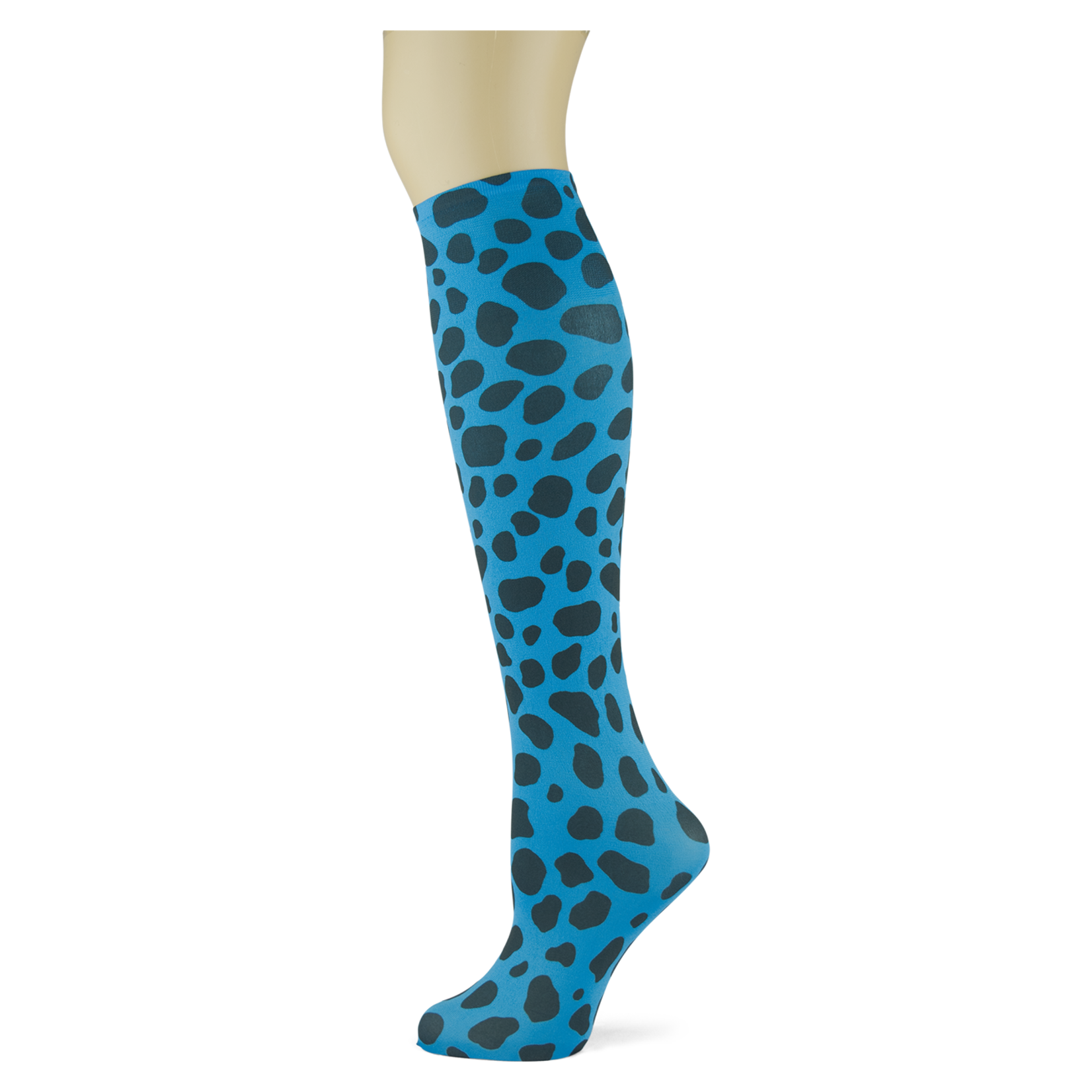 One on One Spots on Turquoise Knee Highs