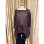 Holey Moley Sweater Fine Gauge O/S Dk Plum