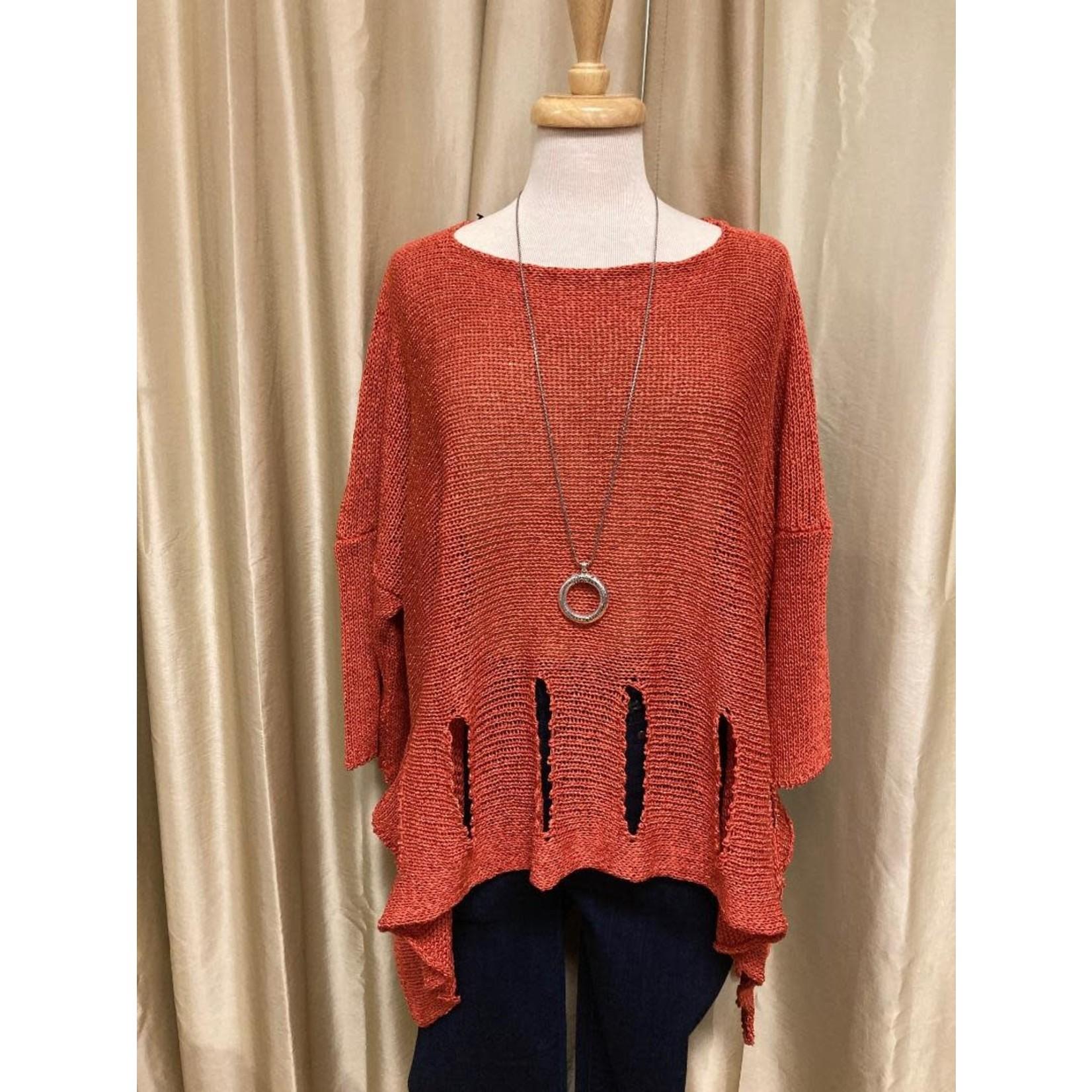 Holey Moley Sweater Fine Gauge  O/S Salmon