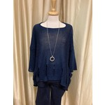 Holey Moley Sweater Fine Gauge  O/S Navy