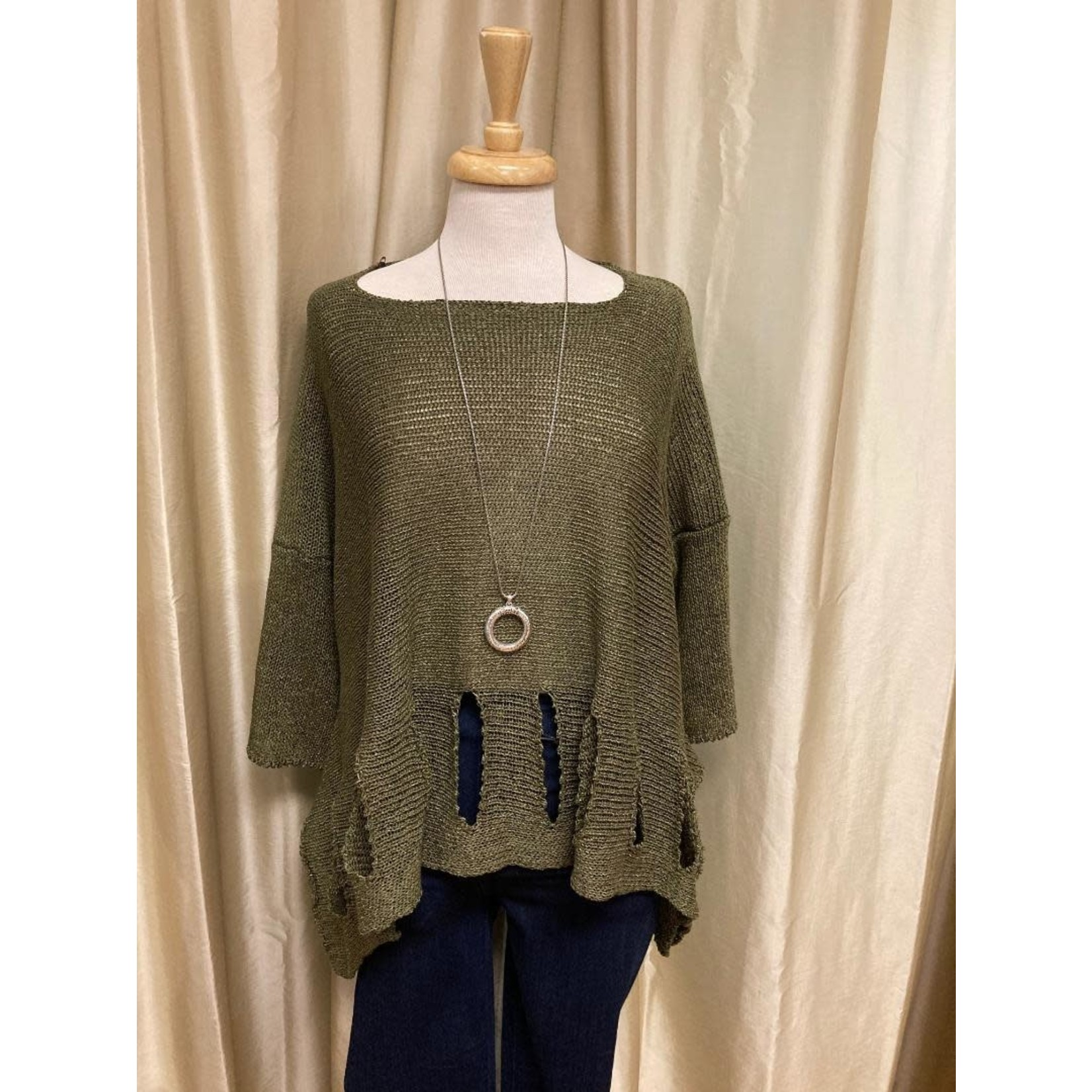 Holey Moley Sweater Fine Gauge  O/S Khaki