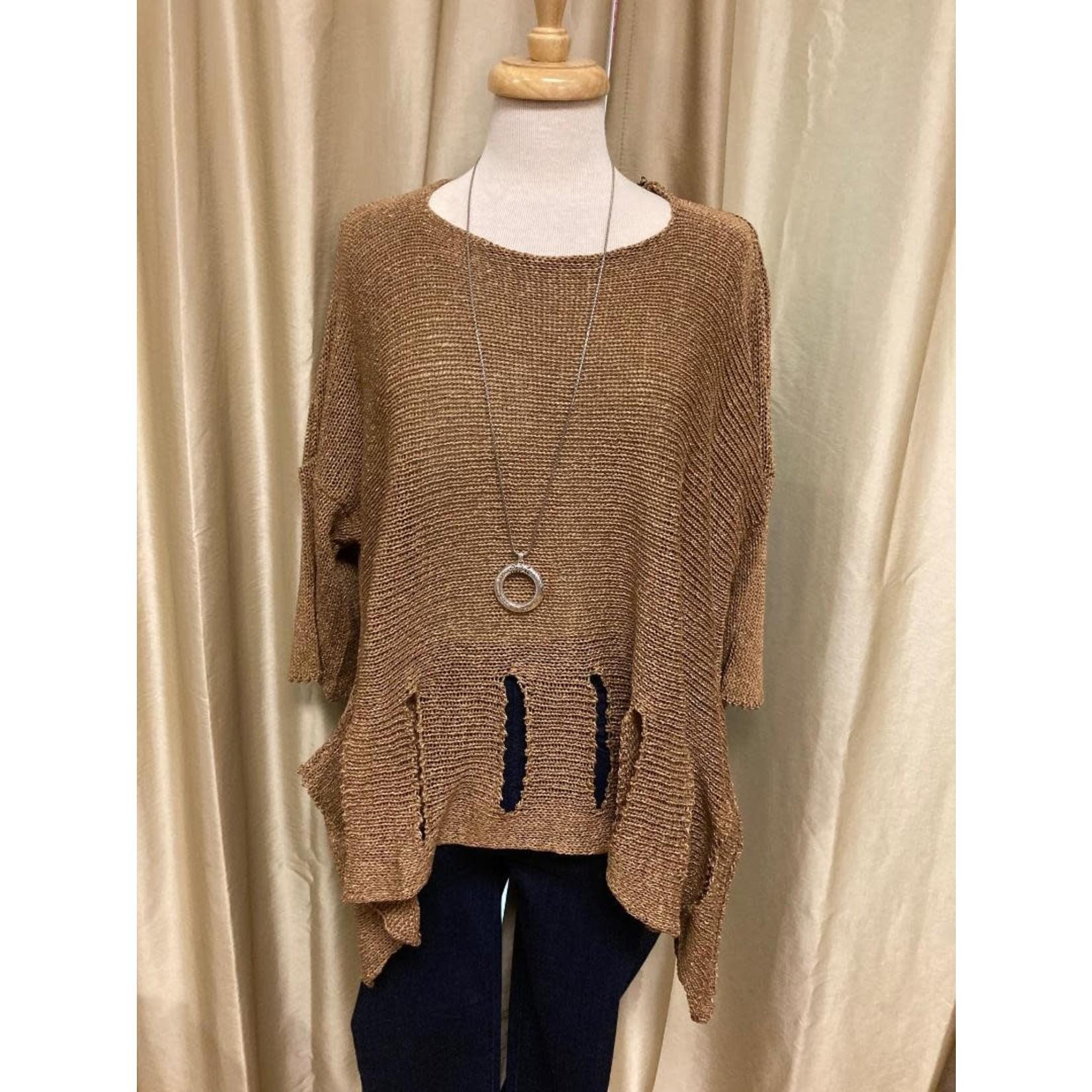 Holey Moley Sweater Fine Gauge  O/S Coffee Bean