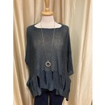 Holey Moley Sweater Fine Gauge  O/S Charcoal