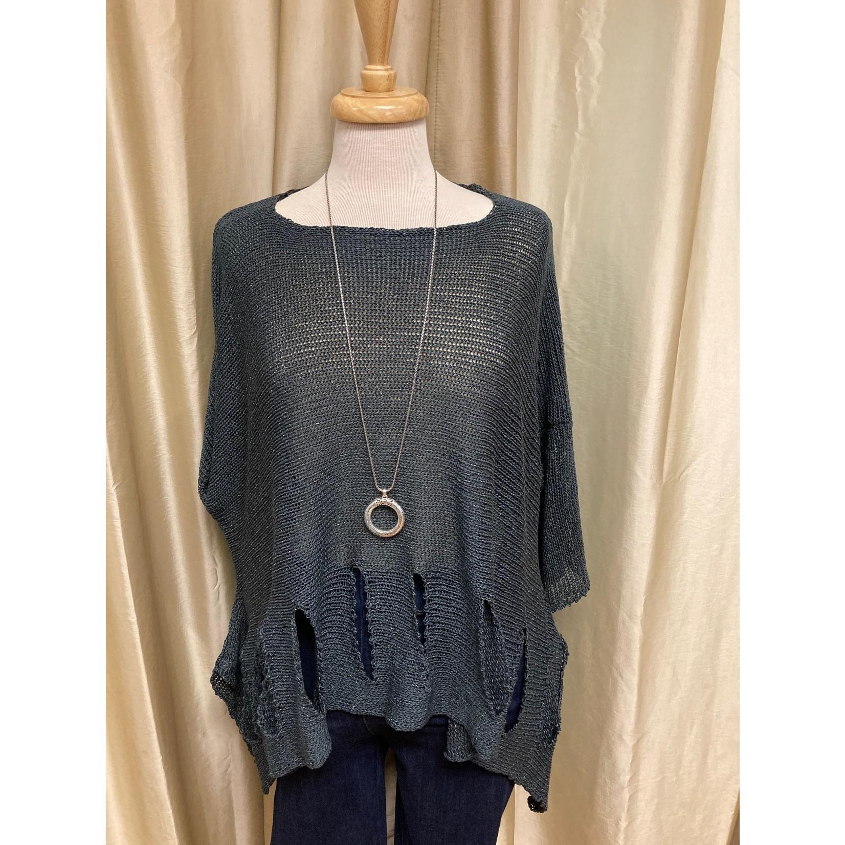 Holey Moley Sweater Fine Gauge  O/S Charcoal