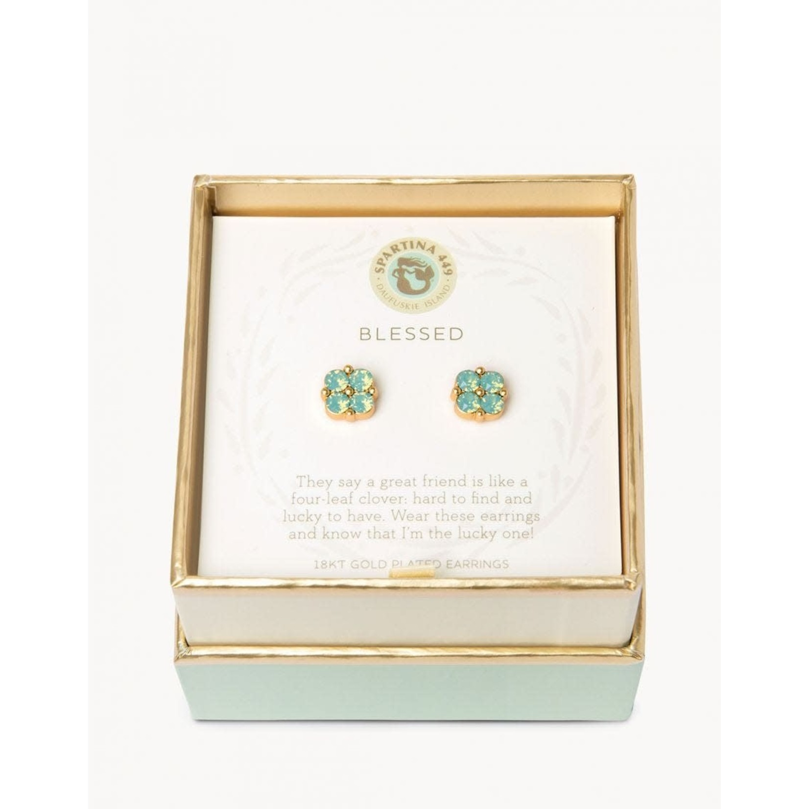 Spartina Blessed Seafoam Clover Studs Gold Earrings