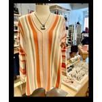 Alashan Cashmere Copacabana Stripe Pullover - Coral Combo