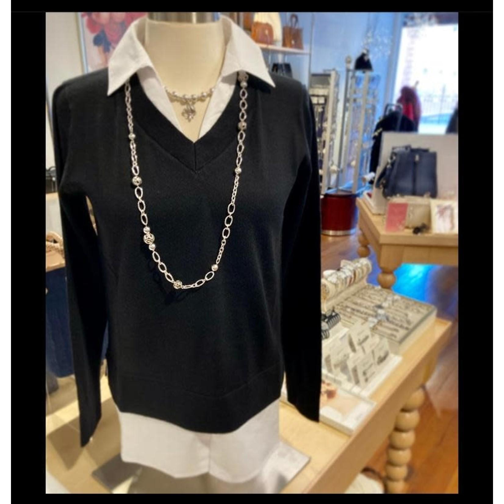 Alashan Cashmere Montage Shirttail Sweater - Ebony