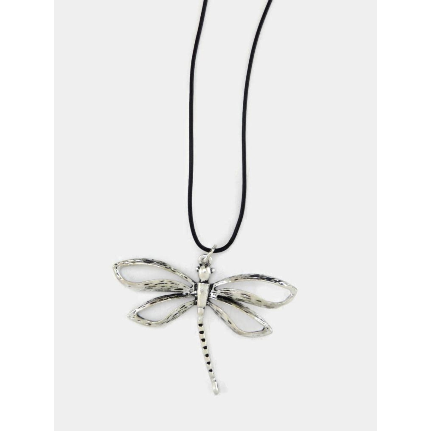Silver Open Wing Dragonfly Necklace on Black Cord