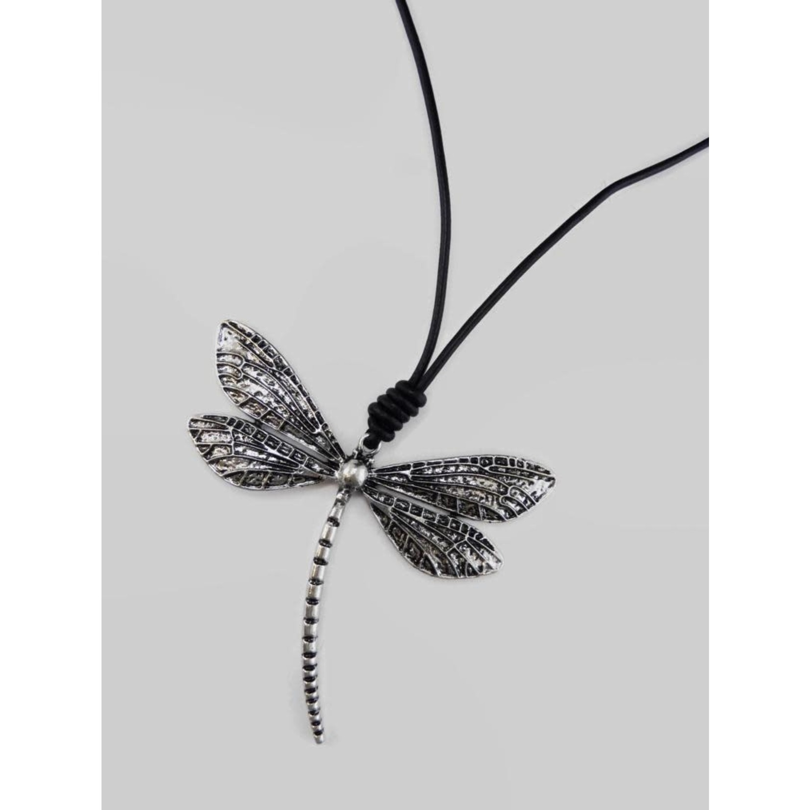 Large Silver Embossed Dragonfly Necklace on Black Cord