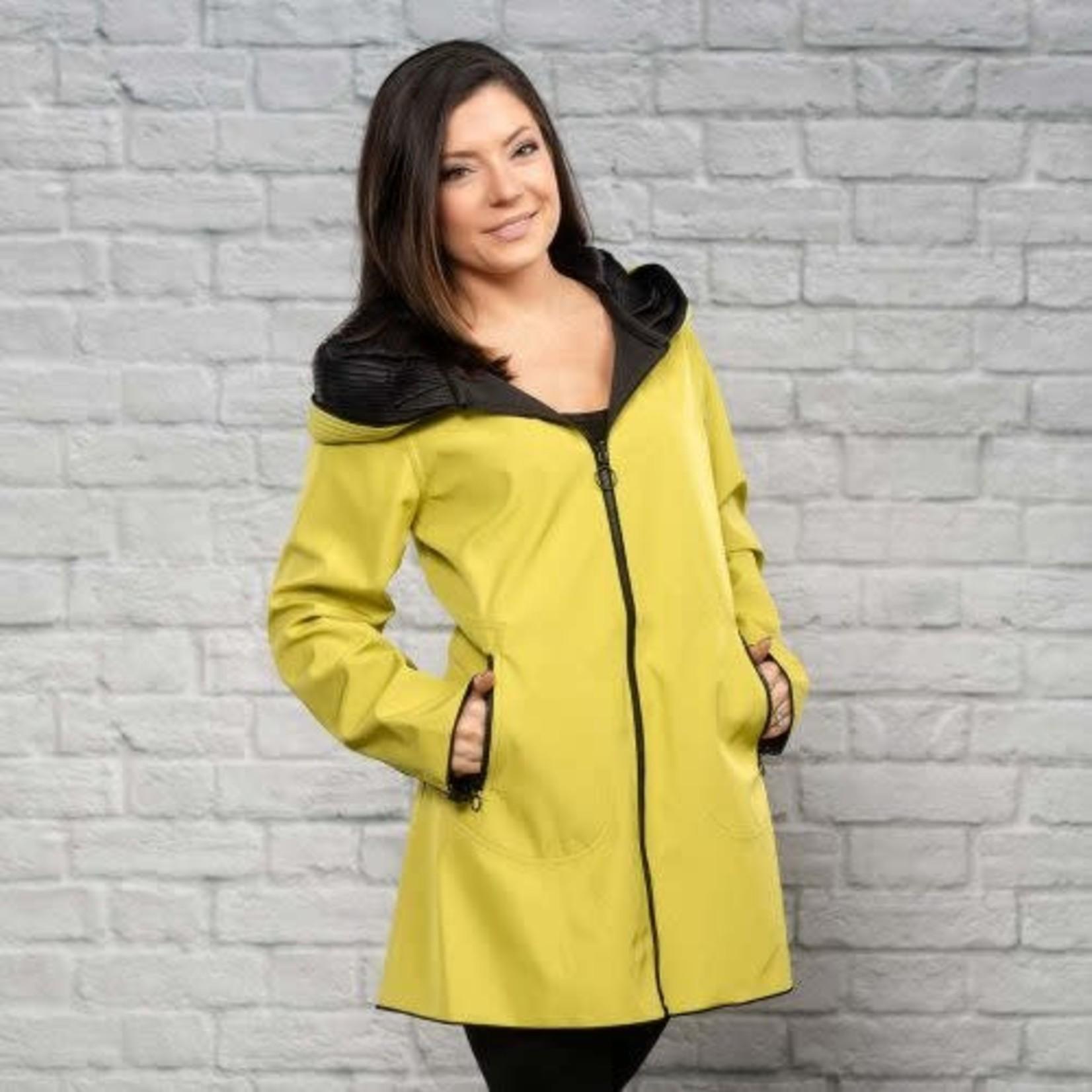Ubu Chartreuse/Black Reversible Pleated Hooded Jacket