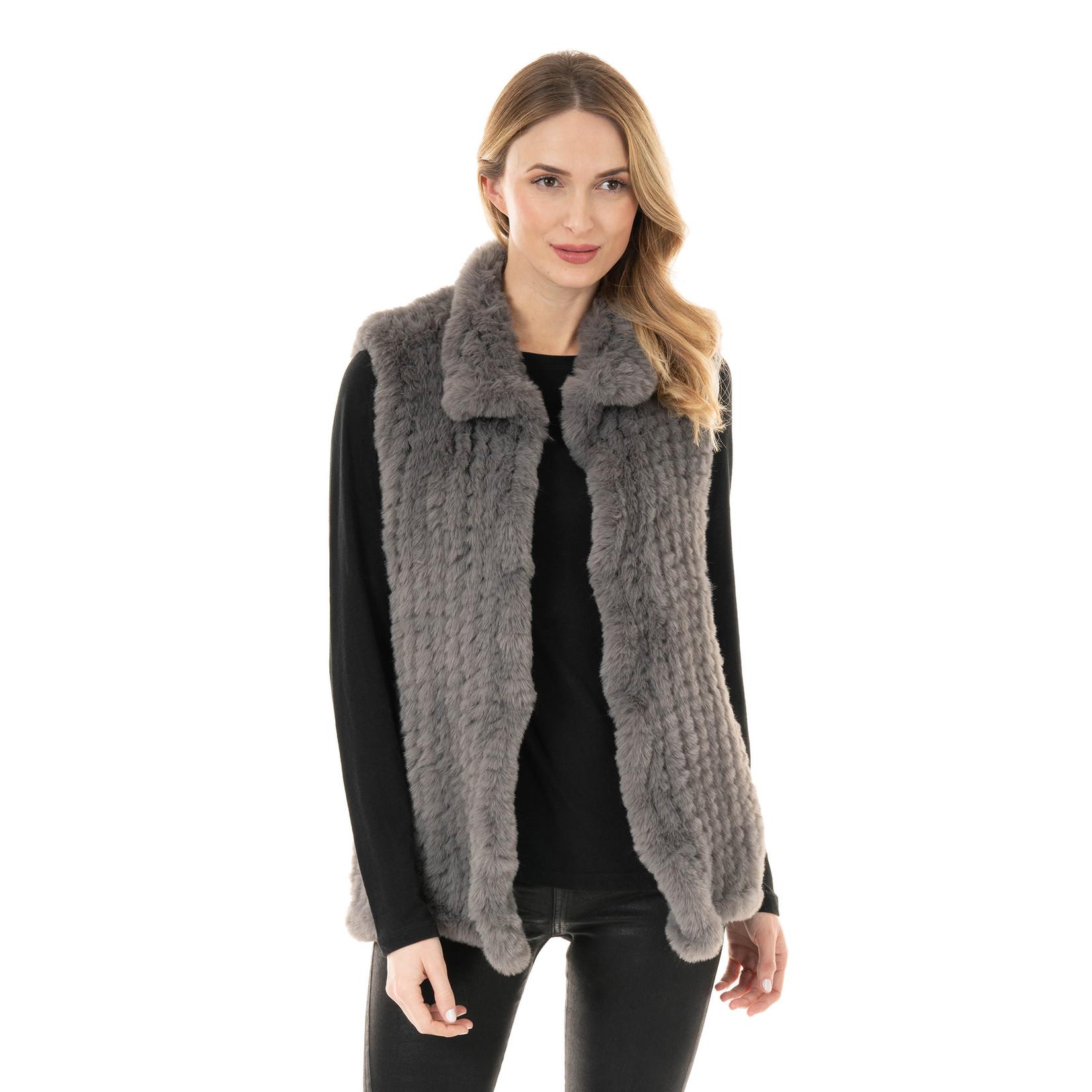 Fabulous Furs Faux Fur & Knit Vest Slate Gray Med