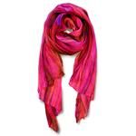 Lua 100% Silk Skinny Watercolor Scarf - Magenta
