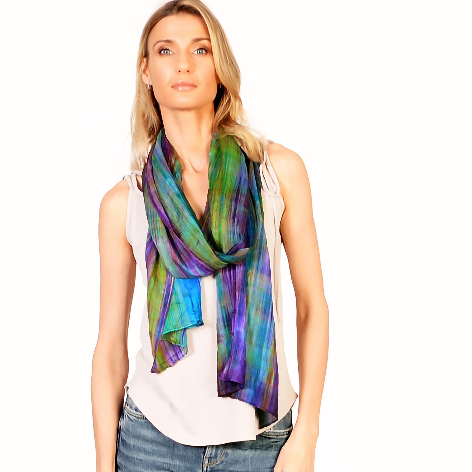 Lua 100% Silk Skinny Watercolor Scarf - Purple