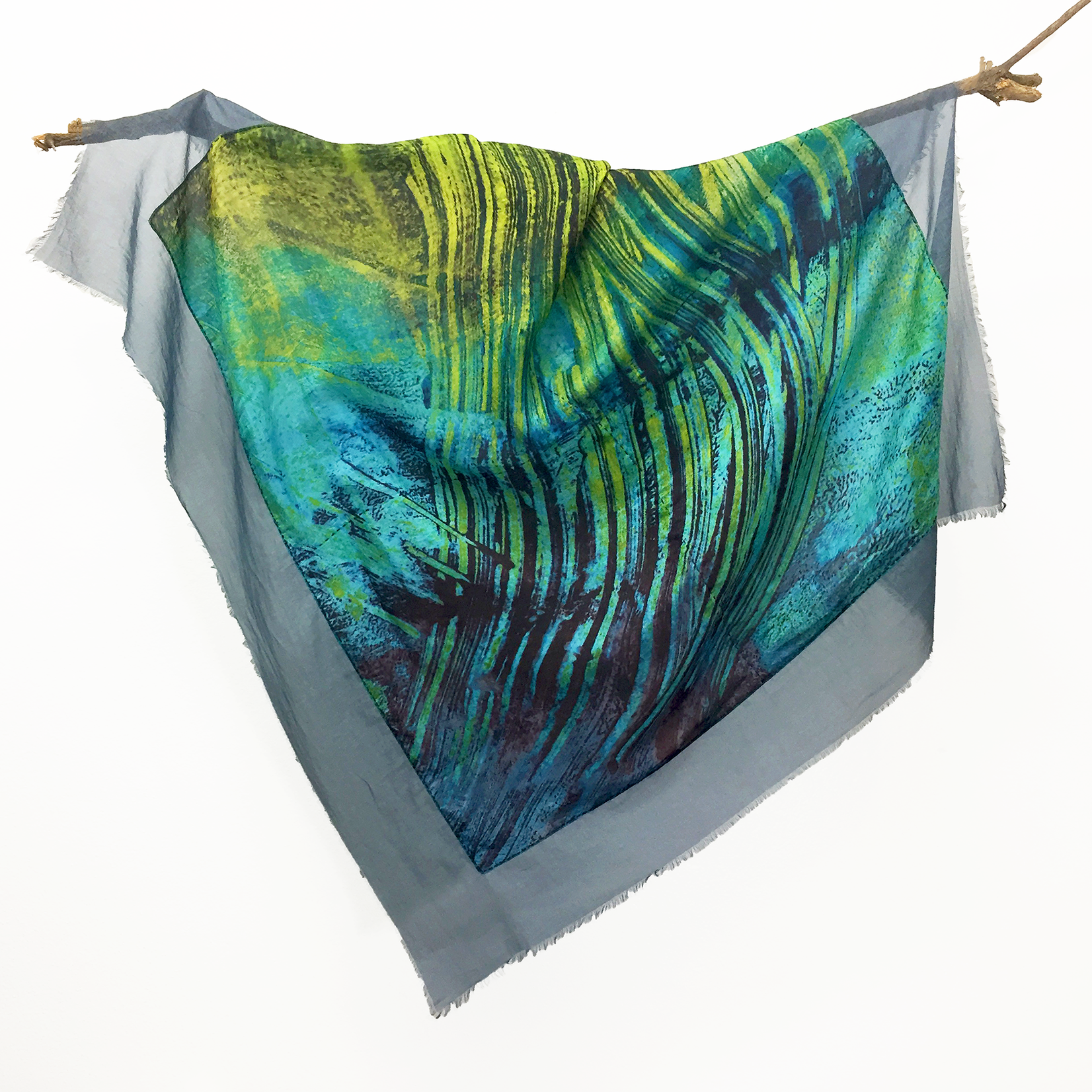 Lua 30% Silk Ebb and Flow Scarf in Blue