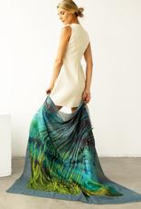 Lua 30%Silk Ebb and Flow Scarf - Blue