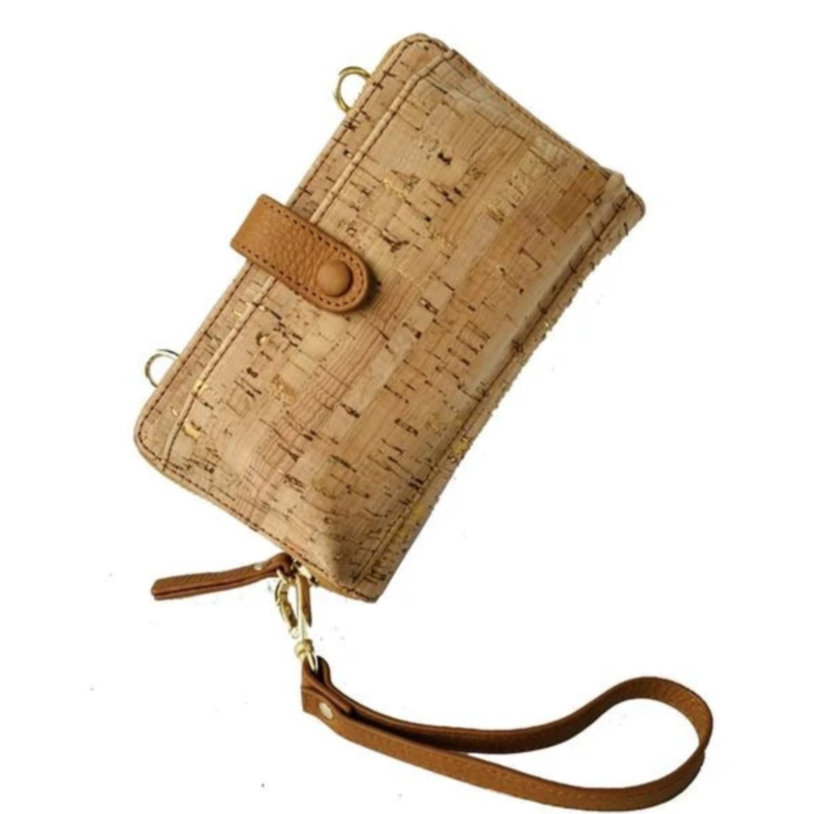Queork Bamboo Cork Wallet w/ Gold Hardware and Leather Trim