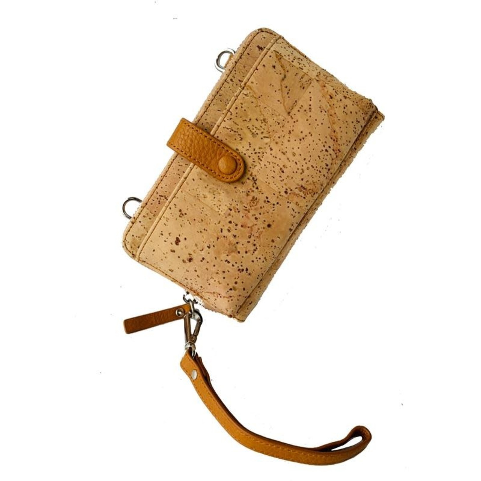 Queork Natural Cork Wallet w/ Silver Hardware and Leather Trim