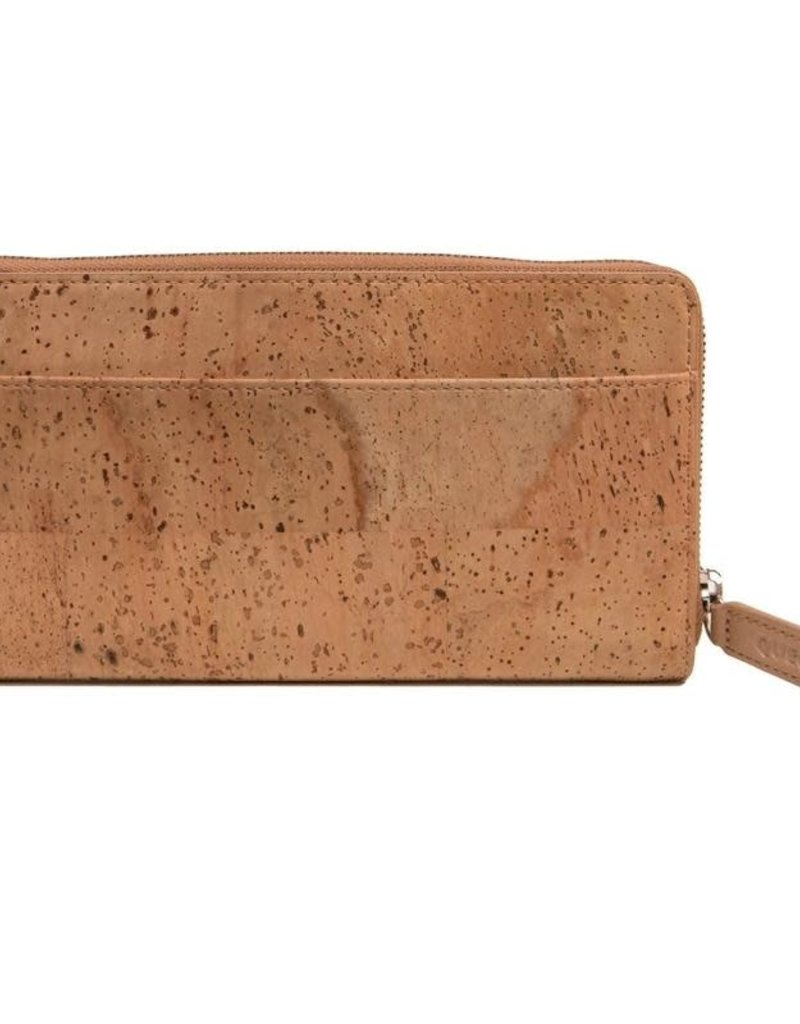 Queork Natural Cork Wallet w/ Silver Hardware
