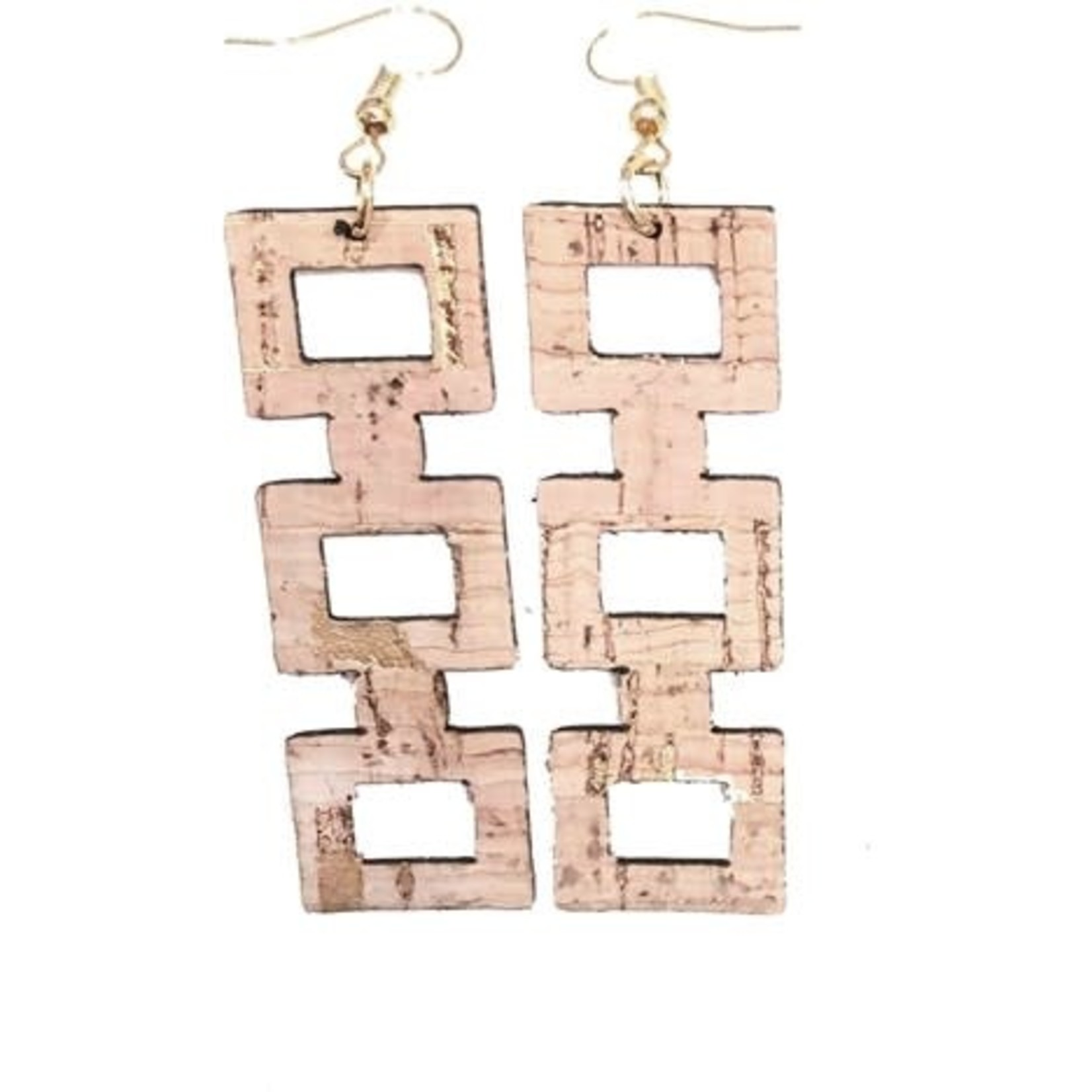 Queork Bamboo Cork Square Block Earrings