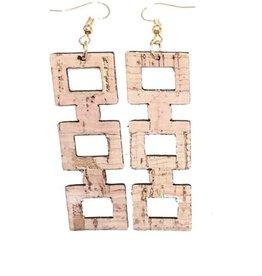 Queork Bamboo Cork Square Block Earrings